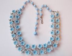 Vintage Estate Necklace Blue Flower 2 Row Thermo plastic Silver tone Lots Detail | eBay