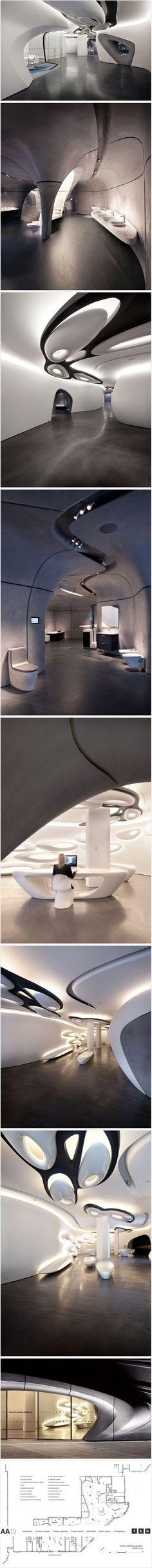 La marque de salles de bain Roca a fait intervenir le célèbre cabinet « Zaha Hadid Architects » pour réaliser le design de leur showroom à Londres.