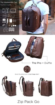 The world's most functional leather backpack! Messenger, backpack, and duffle configurations – the perfect bag for e. - The world's most functional leather backpack! Messenger, backpack, and duffle configurations – the perfect bag for every lifestyle. Leather Accessories, Travel Accessories, Fashion Bags, Mens Fashion, Sacs Design, Duffle, Fendi, Gucci, Man Stuff