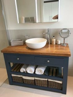 Solid oak vanity unit-vanity unit-bathroom furniture-custom-made ., Solid oak vanity unit-vanity unit-bathroom furniture-made-to-measure-rusti . Small Bathroom Sinks, Bathroom Vanity Units, Small Sink, Bathroom Storage, Bathroom Ideas, Bathroom Mirrors, Ikea Mirror, Bathroom Cabinets, Navy Bathroom