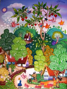 Hungarian folk -oil paintings -for kids