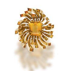 A retro citrine and diamond brooch,