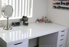 LINNMON Table Top with ALEX Drawers | 12 Ikea Makeup Storage Ideas You'll Love