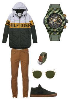 Untitled #67 by tikitress on Polyvore featuring Urban Pipeline, Tommy Hilfiger, NIKE, Hublot, Ray-Ban, men's fashion and menswear