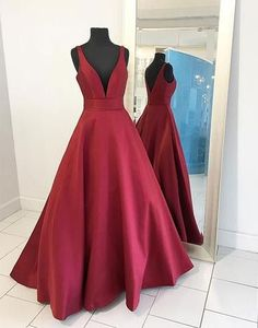 burgundy v-neck A-line satin long prom dress, PD45690