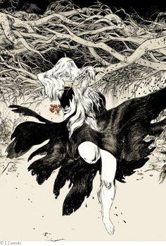 Series of images by Jillian Tamaki to accompany Lady Gregory's Irish Myths and Legends