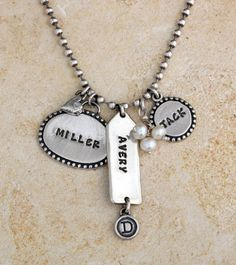 Stamped Necklace for Mom in Sterling Silver. Great for Mother's Day! By Nelle and Lizzy