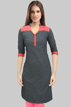 Black Collar Red Tucks Kurta -699 Salwar Designs, Kurti Neck Designs, Blouse Designs, Indian Attire, Indian Wear, Indian Outfits, Muslim Fashion, Indian Fashion, Kurtha Tops