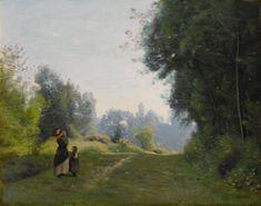 Jean-Baptiste-Camille Corot VILLE-D'AVRAY. RAYONS DU MATIN. JEUNE PAYSANNE ET SES DEUX ENFANTS SUR UN CHEMIN