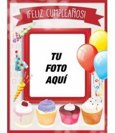 Tarjeta de cumpleaños con marco de fotos rojo, globos y pasteles para felicitar a tus amigos Happy Birthday Pictures, Happy Birthday Cards, Free Printable Banner, Free Printables, Ale, Zumba, Editor, Mickey Mouse, Happy Brithday