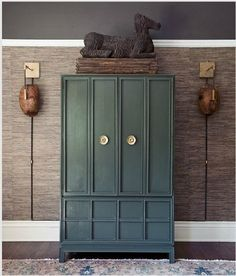 grasscloth + picture rail Color of cabinet Cabinet Furniture, Painted Furniture, Painted Armoire, Painted Chest, Bar Furniture, Furniture Design, Green Cabinets, White Cabinets, Elements Of Style