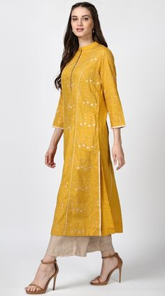 Yellow Solid Colored Semi Fitted Kurta
