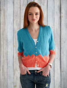 This Walk in the Park Cardi is perfect for throwing on over a tank top or light tee in the spring or summertime as the weather beings to cool from the sunset. For a cardigan, this pattern is unbelievably easy. Cardigan Pattern, Knit Cardigan, Knit Sweaters, Summer Cardigan, Sweater Patterns, Knit Jacket, Easy Knitting Patterns, Free Knitting, Knitting Ideas