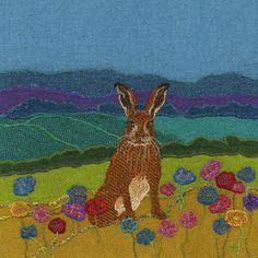 """Buck Hare"" - Harris Tweed needle felted paintings, giclee prints & greetings cards by Jane Jackson. www.brightseedtextiles.com"