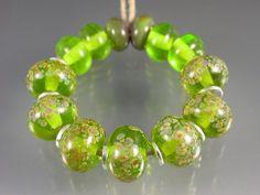 Green gold honey speckled lampwork beads - set of 13 - SPRING RAKU - Beadwife SRA on Etsy, $33.00