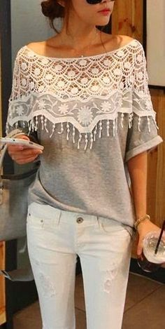Comfy Grey Neck Lace Top