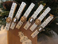 Clothespin  sheet music design set of 6 by Mydaisy2000 on Etsy, $8.00