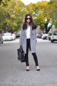 {Oversized grey coat.}