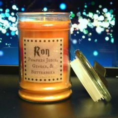 Large Ron Weasley Scented 15 oz Candle:  Pumpkin Juice, Butterbeer, and Ginger