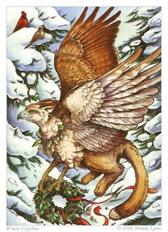 """Winter Gryphon"" omg its like a Christmas Griffin haha"