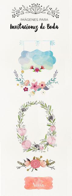 Imágenes con fondo transparente para Invitaciones DIY | El Blog de una Novia | #invitaciones #diy #boda