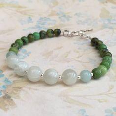 Chrysoprase and Moonstone bracelet in sterling silver, green and white bracelet