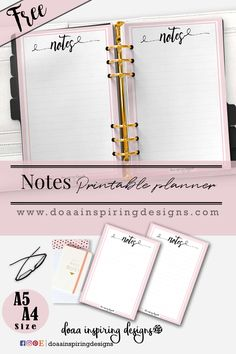 Notes Page free Printable Planner - Doaa inspiring Designs Work Planner, Free Planner, Planner Pages, Happy Planner, Printable Planner, Planner Stickers, Free Printables, Planner Ideas, Planner Diy