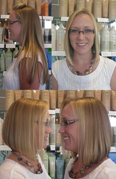 when you are ready for a totally new haircut, think about donating to locks of love... we are blessed at Encore to have so many donators like this blonde beauty!