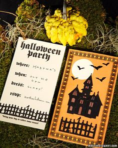 Halloween Luminary Invitations: These dual-purpose Halloween invitations remind guests to save the date and later act as a treat bag for their party favors.