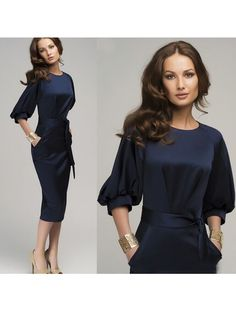 malianna 2017 Womens Fashion Lantern Sleeve O-Neck Pencil Dress Elegant Office Lady Belt Solid Color Navy Blue Dress Vestidos Elegant Dresses, Casual Dresses, Cheap Dresses, Dress Plus Size, Dress Vestidos, Midi Cocktail Dress, Evening Cocktail, Evening Party, Summer Evening