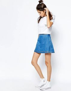 See You Never Denim   See You Never Denim Eyelet Skirt at ASOS