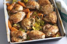 This tender farmhouse chicken braise recipe is delicious, succulent and tender too. Tossed with roasted vegetables this chicken is perfect for Sunday Dinners Under 500 Calories, 500 Calorie Meals, Low Calorie Recipes, Healthy Recipes, Savoury Recipes, Family Meals Uk, Cheap Family Meals, Budget Meals, Budget Recipes