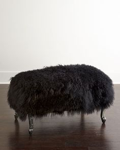 Worthen Noir Sheepskin Ottoman by Old Hickory Tannery at Neiman Marcus.