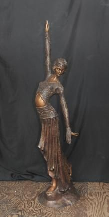 4 ft French Art Nouveau Dancer Bronze Figurine