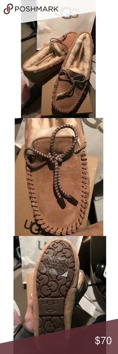 Women's UGG DAKOTA Moccasins with swirl tie Never worn, brand new.....purchased on 1/8/18 UGG Shoes Moccasins
