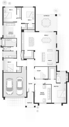 Standard floorplan for The Finlay Standard floorplan for The Finlay Pin: 370 x 682 Home Design Floor Plans, Plan Design, House Floor Plans, House Arch Design, Floor Plan 4 Bedroom, Floor Plan Layout, Shop Plans, Future House, Planer