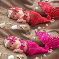 cosplay weapon on sale at reasonable prices, buy Cute small Mermaid newborn photography props handmade Crochet Knit Costume Outfit Mermaid Headband+bra+Tail Pearl baby Cosplay from mobile site on Aliexpress Now! Crochet Baby Cocoon, Crochet Baby Clothes, Newborn Crochet, Crochet Tutu, Beach Crochet, Kids Crochet, Baby Mermaid Costumes, Baby Costumes, Little Mermaid Crochet