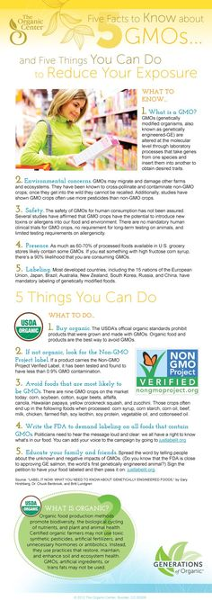 GMO Infographic - Five Facts to Know about GMOs and Five Things You Can Do to Reduce Exposure (choose organic products, Non-GMO Verified Products, and demand GMO labeling)