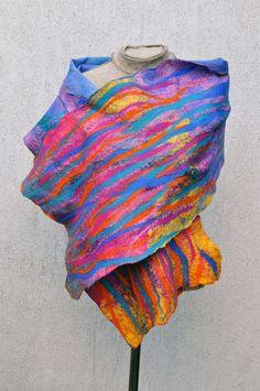 Beautiful+shawl+felted+scarf+silk+wool+by+AleksandrabWiniarska