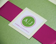 Nice Modern Pink and Green Wedding Invitations