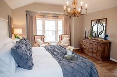 The master suite in the King home has been completely added on. The wood floors and vaulted ceilings are just some of it's features, as seen on Fixer Upper.