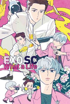 Kpop Exo, Baekhyun, Park Chanyeol, Kpop Drawings, Cute Drawings, Chanbaek, Exo Cartoon, Kpop Anime, Exo Album