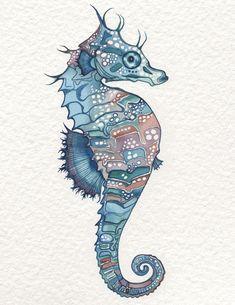 SEAHORSE 8.5 x 11 art print in whimsical watercolours, art beach decor sea horse wall painting artwork, sea horse