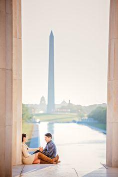 Lincoln Memorial Sunrise Engagement Session, Washington DC
