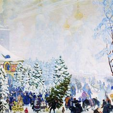 Boris Kustodiev Christmas tree bargain - Handmade Oil Painting Reproduction on Canvas Russian Painting, Russian Art, Figure Painting, Art Nouveau, Art Database, Oil Painting Reproductions, Christmas Paintings, Christmas Artwork, Beautiful Christmas