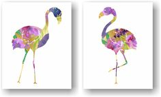 Watercolor Floral Flamingo Kitsch Purple and Faux Gold Foil Art Unframed Prints (Set of 2). Watercolor Floral Flamingo Art Print Set of 2. A modern take on the kitsch flamingo. Hang it in your bedroom or home office. Unframed Prints / Not Canvas The gold/ watercolor in the print is not real gold foil or gold leaf, it's a printed image with a matte finish. 5x7, 11x14 & 12x16 sizes have a small border for easy framing with a mat 8X10 artwork is printed on a 8.5x11 inch sheet for easy…