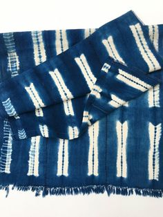 Mud Cloth shibori textile, Vintage African Fabric from Mali, 57 inches long x 18 inches wide, fringe