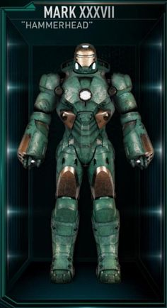 """Mark XXXVII – (Iron Man 3) Code-named """"Hammerhead"""" for the ability to fully submergible."""