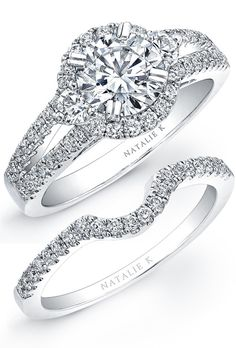 Brides: Natalie K. Visit nataliek.com now for more info�Where to buy, visit nataliek.com�This stunning semi-mount engagement ring features a halo design of 62 gleaming round white diamonds totaling 0.46 carats. Pave set in polished 14k white gold. Available in 18k and platinum.