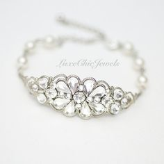Bridal Bracelet, Swarovski Crystal and Pearl Bracelet, Wedding Jewellery - Kaylee